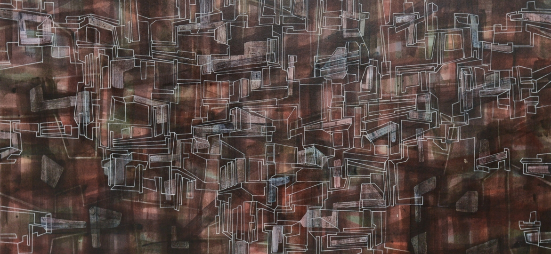 Ciklus crteza VAVILON, akril i roler-marker na kartonu, 70 x 100 cm, triptih (sredina) 2017